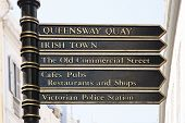 foto of gibraltar  - Pole sign in the streeto of Gibraltar in english style - JPG