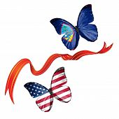 pic of guam  - Two butterflies fluttering with flags of USA and the Guam - JPG