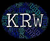 stock photo of korean  - Krw Currency Meaning South Korean Won And South Korean Won - JPG