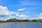 stock photo of dam  - Views over the reservoir Kaengkrachan dam - JPG