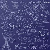 picture of meteors  - Space doodles icons set - JPG