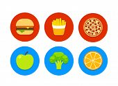stock photo of junk  - 6 food icons - JPG