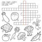 stock photo of leek  - Vector crossword game for children about vegetables  - JPG