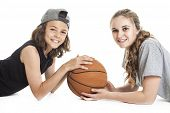 picture of ball cap  - A Portrait of brother and sister with a basket ball - JPG