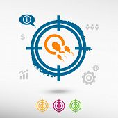 picture of human egg  - Sperms and egg icon on target icons background - JPG