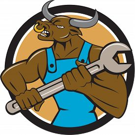 image of minotaur  - Illustration of a minotaur bull mechanic looking to the side holding giant spanner set inside circle on isolated background done in cartoon style - JPG