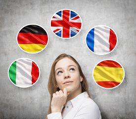 picture of british culture  - Beautiful lady is surrounded by bubbles with european countries - JPG