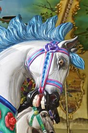 stock photo of carousel horse  - Carousel horse ride for children, close up view ** Note: Visible grain at 100%, best at smaller sizes - JPG