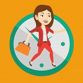 Busy caucasian business woman running on the background with clock. Young busy business woman in a h poster