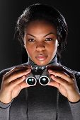 Female Secret Agent Spy Holding Binoculars