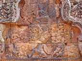 foto of mahabharata  - Detail of khmer stone carving for the ramayana story legend  - JPG