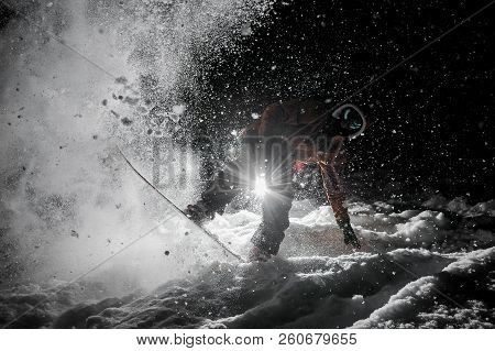Professional Snowboarder In Sportswear And