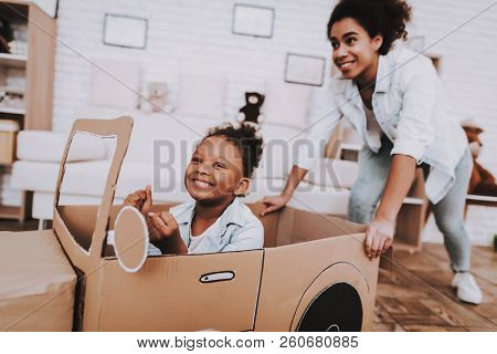 poster of Mother And Young Girl Drive With Mother. People Play With Car. Little Girl Drive Car. Young People A