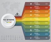 10 Steps Infographics Element Chart For Presentation. Eps 10. Arrow Template For Business Presentati poster