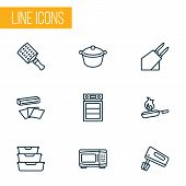 Cooking Icons Line Style Set With Microwave, Cooking, Knife Holder And Other Zester Elements. Isolat poster