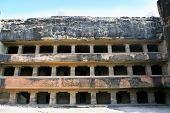 picture of ellora  - Facade of ancient Ellora rock carved Buddhist temple - JPG