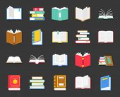 Book In Various Icon, Such As Close , Stack Of Books, Open Book, Back To School Theme In Flat Design poster