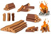 Fire Wood And Campfire. Log And Bonfire Vector Cartoon Flat Set Isolated On White Background. poster