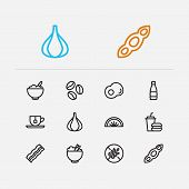 Nutrition Icons Set. Garlic And Nutrition Icons With Coffee Bean, Lime And Soy. Set Of Healthcare Fo poster
