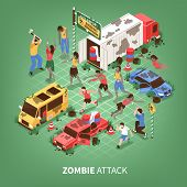 Isometric Zombie Apocalypse Composition With Text And Images Of Strange Zombies Attacking People And poster