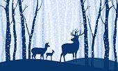 Silhouettes Of Deer. Family Of Three Deer Among Trees And Hills In Winter Forest On Light Background poster