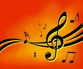 stock photo of musical instruments  - Music notes background - JPG