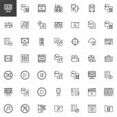 Audio And Video Outline Icons Set. Linear Style Symbols Collection Line Signs Pack. Vector Graphics. poster