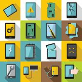 Device Repair Symbols Icons Set. Flat Illustration Of 16 Device Repair Symbols Icons For Web poster