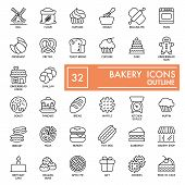 Bakery With Inscription Line Icon Set, Bread Symbols Collection, Vector Sketches, Logo Illustrations poster