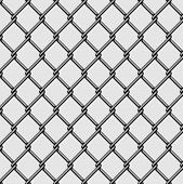Seamless Chain Link Fence. Steel Wire Mesh On White Background. Vector Illustration. poster