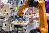 robotic machine tool in industrial manufacture factory,Smart factory industry 4.0 concept. poster