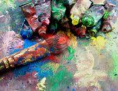 Постер, плакат: гранж краски и кисти