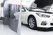 Cars In A Carwash. Car Wash With Foam In Car Wash Station. Carwash. Washing Machine At The Station.  poster