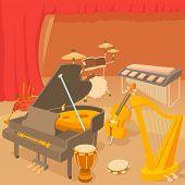 Musical Instruments Concept. Cartoon Illustration Of Musical Instruments Concept For Web poster