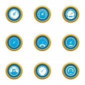 Speed Superiority Icons Set. Flat Set Of 9 Speed Superiority Vector Icons For Web Isolated On White  poster