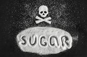 Text Sugar And Skull Shape From Sugar On Black Background, Concept Sugar And Sweet Leads To Diabetes poster
