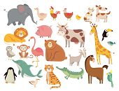 Cartoon Animals. Cute Elephant And Lion, Giraffe And Crocodile, Cow And Chicken, Dog And Cat. Farm A poster