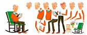 Old Man Vector. Asian Senior Person Portrait. Elderly People. Aged. Animation Creation Set. Face Emo poster