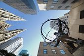 NEW YORK CITY - SEP 5: Fifth Avenue, as a symbol of wealthy New York, with Atlas statue and St. Patr