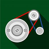 Mechanic Belt Icon. Flat Illustration Of Mechanic Belt Icon For Web poster