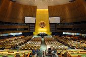 NEW YORK CITY, NY - MAR 30: The General Assembly Hall is the largest room in the United Nations with