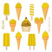 Vector Illustration For Natural Pear Ice Cream On Stick, In Paper Bowls, Wafer Cones. Ice Cream Cons poster