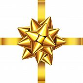 Gold  Ribbon And Bow For  Christmas, New Year Decoration. poster
