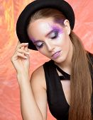 Beauty Portrait Of Woman With Creative Violet Makeup. poster