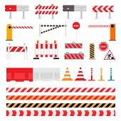Road Barrier Vector Street Traffic-barrier Warning And Barricade Blocks On Highway Illustration Set  poster