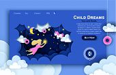 Vector Web Site Paper Art Design Template. Child Touching The Stars In The Sky. Kids Dream. Landing  poster