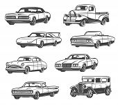 Retro Cars And Vintage Automobile Models. Vector Isolated Icons Of Antique Minivan Or Passenger Coac poster