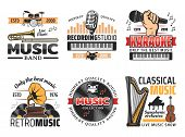 Music Instruments Icons For Karaoke Club, Live Music Show Or Band Concert And Festival Or Recording  poster