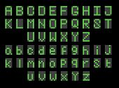 Green Led Digital English Uppercase, Lowercase Font Display. Led Font Digital Alphabet Uppercase Fon poster