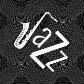 Jazz Concept. Vinyl Record And The Word Jazz. Letter J - Saxophone poster